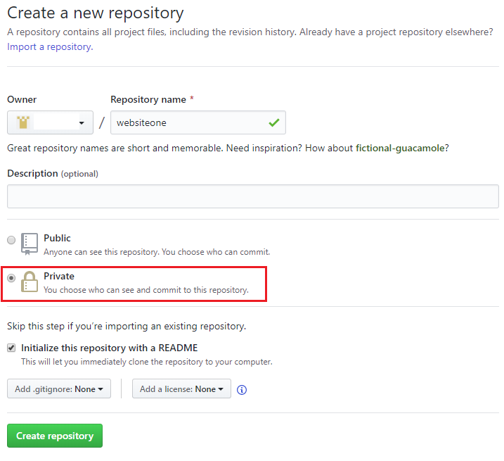github create repository details