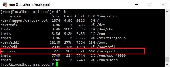 zpool partition size