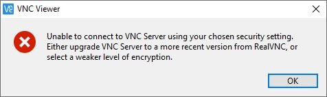 vnc select lower encryption