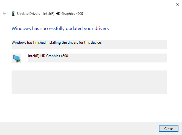 driver successfully installed