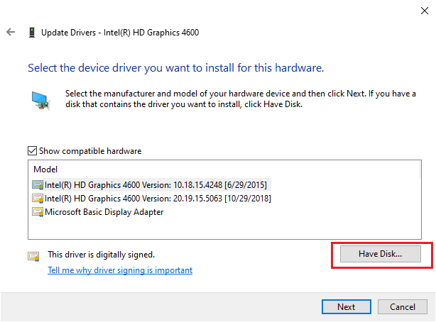 update intel display driver - Have Disk