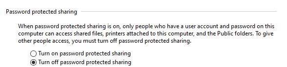 windows turn off password protected sharing